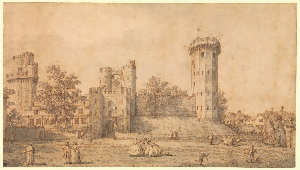 Canaletto (Giovanni Antonio Canal) (Italian, Venice 1697–1768 Venice) Warwick Castle: The East Front, 1752 Pen and brown ink, gray wash; 12 7/16 x 22 1/8 in. (31.6 x 56.2 cm) The Metropolitan Museum of Art, New York, Robert Lehman Collection, 1975 (1975.1.297) http://www.metmuseum.org/Collections/search-the-collections/459183