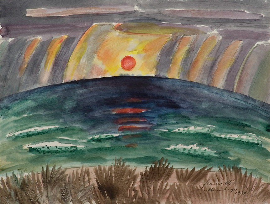 Blog do Mesquita,Arte,Artes Plásticas,Aquarela,Walter Gramatté,German, -1897–1929,Sunset 1924,