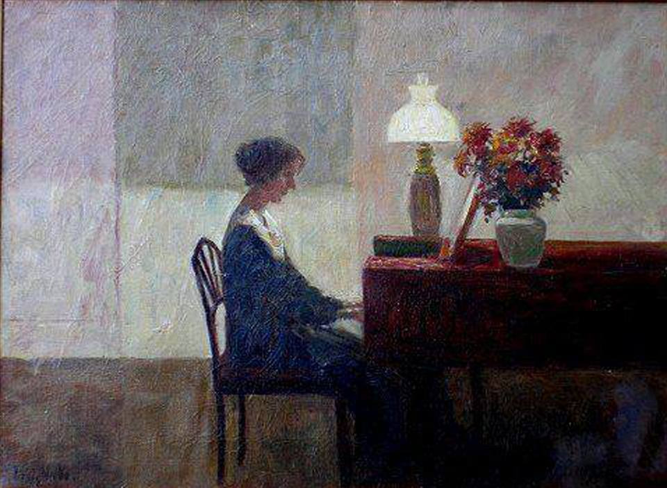 Blog do Mesquita,Arte,Artes Plásticas,Poul Friis Nybo,A Woman at the Piano, Óleo sobre tela,1929