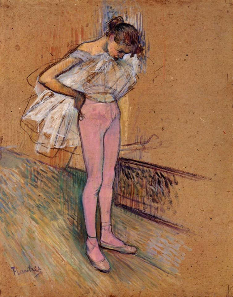 Henri de Toulouse Lautrec Dancer Adjusting her tights pastel sobre cartão