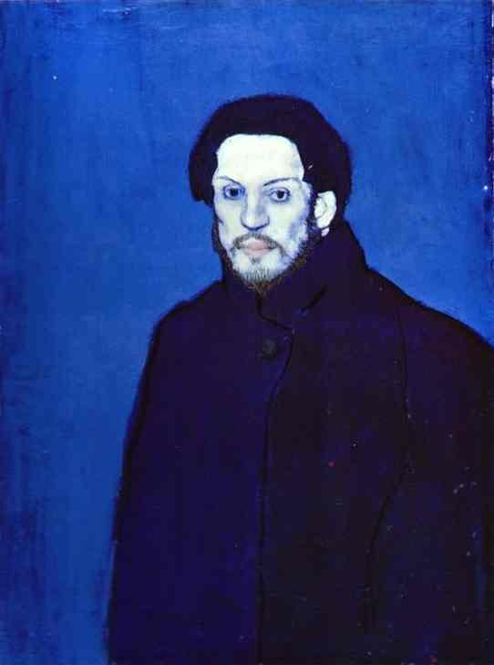 Blog do Mesquita,Arte,Artes Plásticas,Pinturas,Pablo Picasso,Picasso Self-Portrait painted during his so-called Blue Period 1901 Oil on canvas.