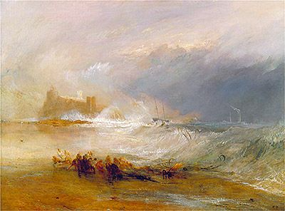 Arte,Artes Plásticas,Ilustrações,Blog do Mesquita,Wreckers, Coast of Northumberland with a Steam-Boat Assisting a Ship off Shore, undated Joseph Mallord William Turner