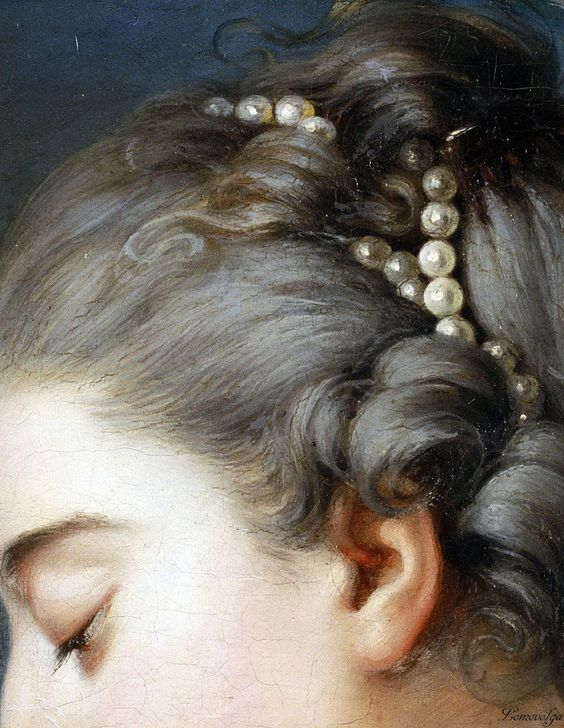 Arte,Pintura,Blog do Mesquita,Johann Christian von Mannlich, German (active Paris), 1741-1822 -- Young Woman Fastening a Letter to the Neck of a Pigeon (detail)