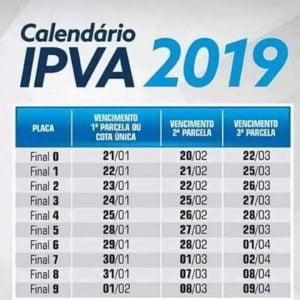 Calendário pagamento ipva 2019