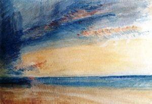 Arte,Pinturas,Blog do Mesquita,The Athenaeum - Low Sun and Clouds over a Calm Sea Joseph Mallord William Turner